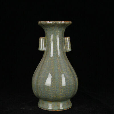 Old Fine Chinese Porcelain guan kiln Hand Carved double ear Ceramics Vase 9.8""