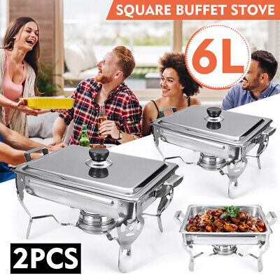 2pcs 6L Single Stainless Steel Food Warmer Chafing Dish Buffet Server Party New