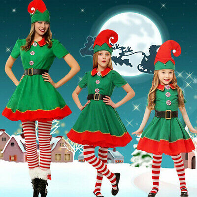Kids boys/girls Green Elf Fancy Dress Outfit Christmas Costume Xmas Cosplay