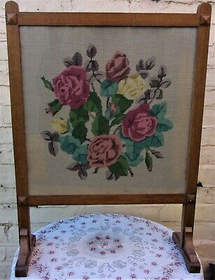 Vintage Wood Fire Screen ~65 Yr Old Wooden Guard ~Roses Tapestry Large 31''/79cm