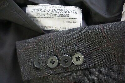 Anderson & Sheppard Savile Row Gray Plaid 100% Wool 3/2 Sport Coat Jacket Sz 44L