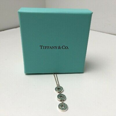 Tiffany & Co Silver  1837 Triple 3 Circle Disc Drop Pendant Necklace