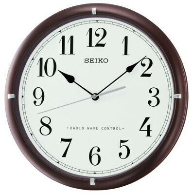 Seiko Radio Controlled Solid Wood Clear Arabic Numbers Wall Clock