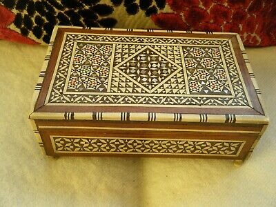 Vintage Inlaid Gueissaz Micro Mosaic Wooden Swiss Musical Box