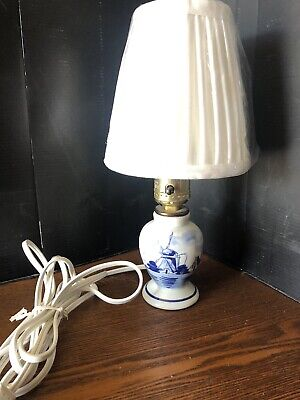 Vintage Blue And White Delft Lamp With Brand New  Lamp Shade Scenic Windmill