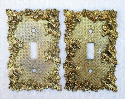 2 x VINTAGE METAL BRASS ELECTRICAL WALL PLATE SWITCH COVERS AMERICAN TACK & HDWE