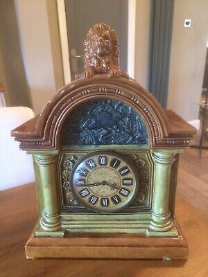 Arts & Crafts Late 19th C Pottery Mantle Clock By E.Smith & Co Coalville