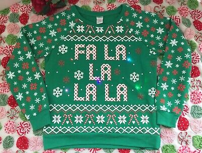 Christmas Light Up Green Sweatshirt Top Candy Cane Snowflake Women's SZ M