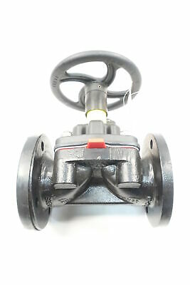 Saunders 3449 Manual Iron Flanged Diaphragm Valve 3in 150