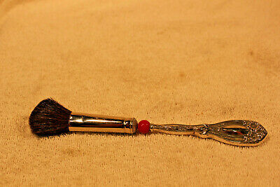 Sterling Silver Makeup Brush With Red Bead In Handle
