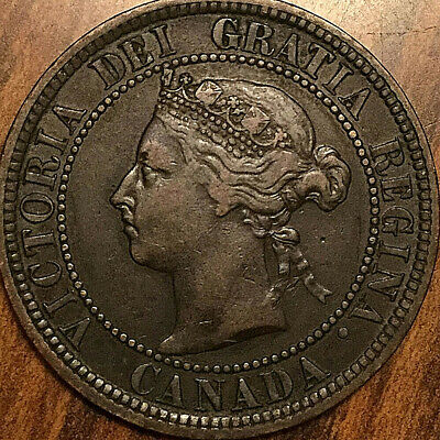 1882H CANADA LARGE CENT PENNY LARGE 1 CENT COIN - Obverse #2 variety