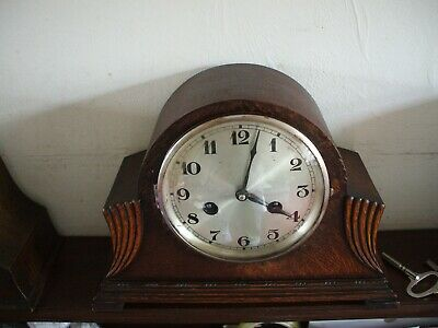 Vintage Hac German Art Deco 8 Day Striking Mantle Clock V Good Condition