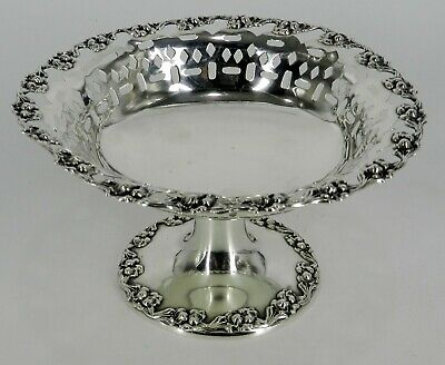 STERLING National Silver NS CO REPOUSSE PIERCED 161 GRAM COMPOTE BOWL NOT Weight