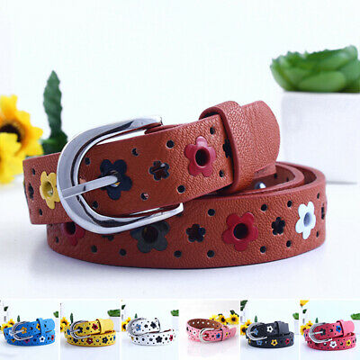 Fashion Belt One Size PU Leather Useful Elastic Girls Floral Waistband
