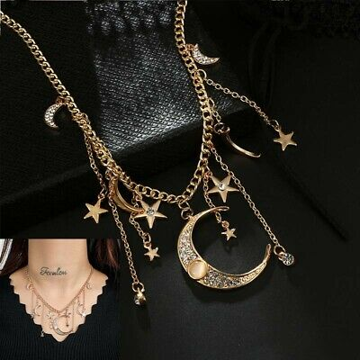 Chic Crystal Choker Necklace Women's Pendant Jewelry Star Moon Multilayer Chain