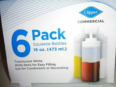 Commercial 16 oz. Squeeze Bottles, 6 Pack, Wide Neck