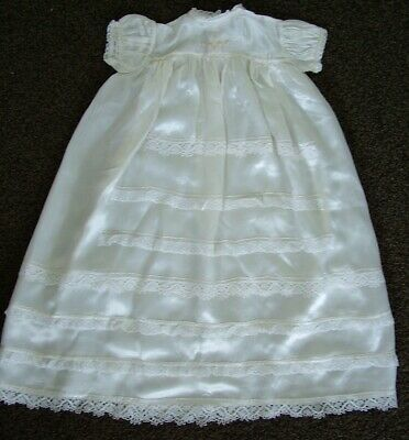 Vintage antique ivory satin rayon christening dress gown