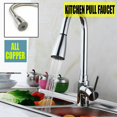 Pull-Out Sprayer Kitchen Faucet Swivel Spout Sink Single Handle Mixer Tap D0V9