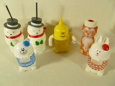 6 Vintage Collectible Novelty Childrens plastic cups