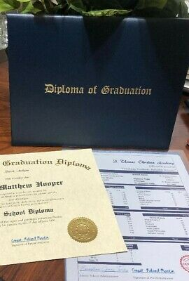Customized High School Diploma and Transcript Combo Home School REAL NOT FAKE