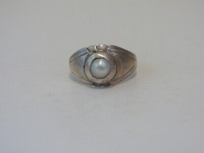 "Ancient Roman (or Medieval?) Silver Ring inset with a Pearl. ""Magic Eye"""
