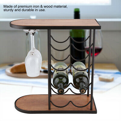 Wine Rack with Glass Holder for 2 Goblet 6/8 Metal Cup Storage Cabinet Organiser