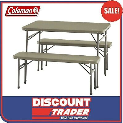 Coleman Camping Pack-Away Table and Bench 3 Piece Set - 1377569