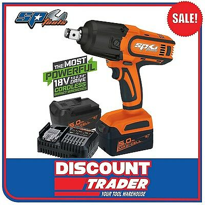 "SP Tools 18V 5.0Ah Lithium-Ion Cordless 1/2"" Drive Impact Wrench Kit - SP81130"