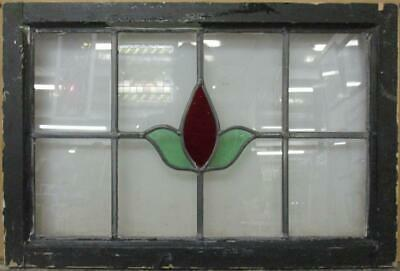 "MIDSIZE OLD ENGLISH LEADED STAINED GLASS WINDOW Simple Floral 25.25"" x 17"""
