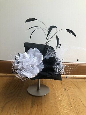 "Laura Whitlock Hat Black Feathers Netting 6-7"" Kentucky Derby"