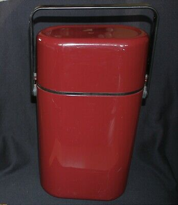 vintage DECOR wine cooler caddy carrier two bottle maroon cooler brick