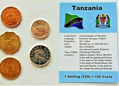 TANZANIA, GROUP of 5 GEM COINS, 1979-92 , in a see through package.