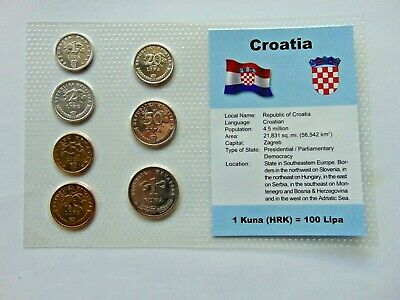 CROATIA, SET of 7 GEM COINS, all 1993, in a see through package.