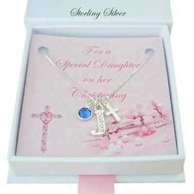 Christening Gift for Girl, Silver Necklace with Cross, Birthstone & Letter