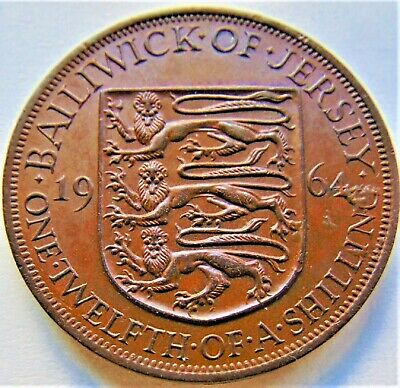 1964 Jersey Elizabeth II, 1/12 Shilling, Grading About UNCIRCULATED.