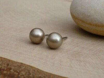 Genuine Austrian Crystal Pearl Surgical Stainless Steel Studs 6mm ~ Platinum