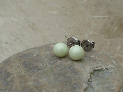 Genuine Austrian Crystal Pearl Surgical Stainless Steel Studs 6mm ~ Pastel Green