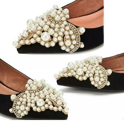 2X Women Pearl Flower Rhinestones Shoe Clips Iron on Pearl Patch Badge Applique