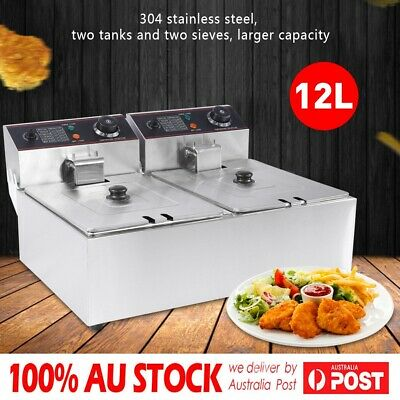 12L Commercial Benchtop Electric Deep Fryer Double Oil Basket Stainless Steel
