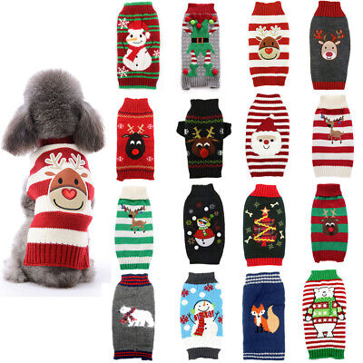 Winter Cartoon Dog Clothes Warm Christmas Sweater For Small Dogs Pet Clothing