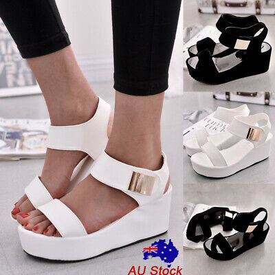 Womens Flatform Wedge Heel Sandals Ladies Ankle Strap Hook Loop Casual Shoes