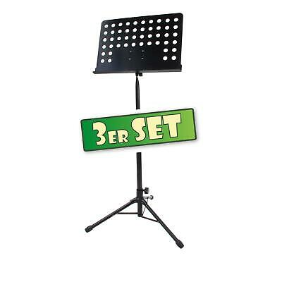 3x Heavy Duty Metal Music Stand Holder Orchestral Robust Sheet Adjustable Black