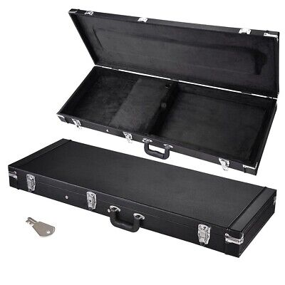 """Protable Electric Bass Guitar Square Hardshell Carrying Case 41"""" Lockable Wooden"""