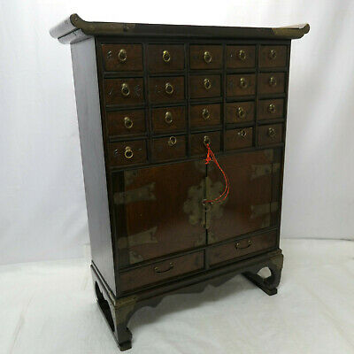 Vintage Decorative ELM and PINE WOOD MEDICINE CHEST CABINET Chinese 1930s #240