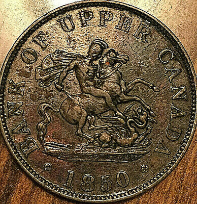 1850 Upper Canada Dragonslayer Half Penny Token