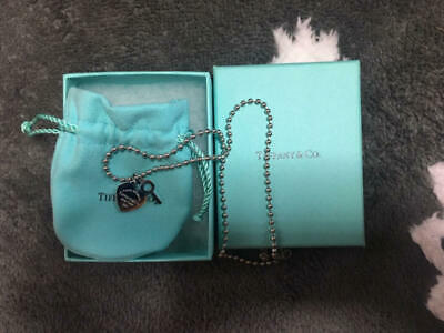 Tiffany & Co Authentic Sterling Silver 925 Heart Tag Bead Chain Pendant Necklace