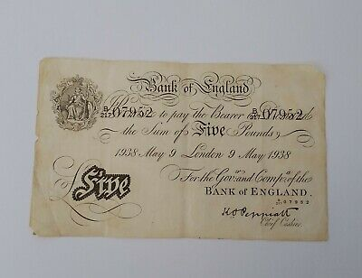 BANK OF ENGLAND GREAT BRITAIN £5 POUNDS 1938 Banknote Note