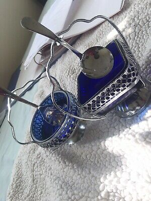 X2 Vintage Silver-plate & blue glass preserve dish and spoon