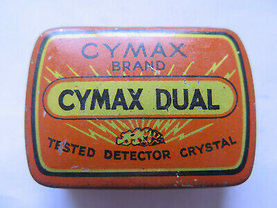 CYMAX DUAL WIRELESS DETECTOR CRYSTAL RADIO CATSWHISKER TIN c1930