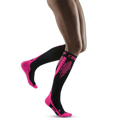 CEP Mujer Nighttech Calcetines - Negro Rosa Deporte Correr